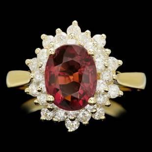 14k Gold 150ct Tourmaline 210ct Diamond Ring