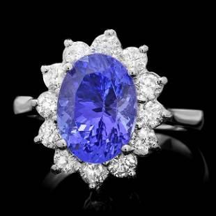14k Gold 350ct Tanzanite 100ct Diamond Ring