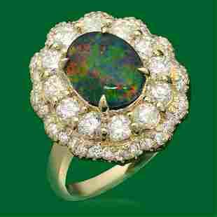 14k Gold 178ct Opal 172ct Diamond Ring