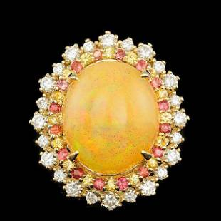 14k Yellow Gold 1000ct Opal 100ct Diamond Ring
