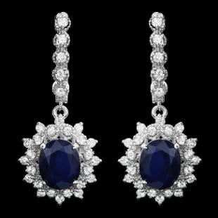 14k Gold 60ct Sapphire 160ct Diamond Earrings