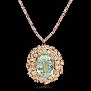 14K Rose Gold 1650cts Aquamarine 1180cts Diamond