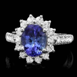 14k White Gold 25ct Tanzanite 1ct Diamond Ring