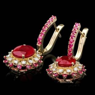 14k Gold 855ct Ruby 060ct Diamond Earrings