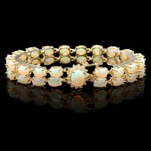 14k Gold 141ct Opal 050ct Diamond Bracelet