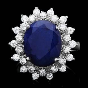 14k Gold 650ct Sapphire 090ct Diamond Ring