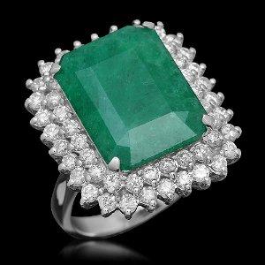 14K Gold 11.26 Emerald 1.80 Diamond Ring