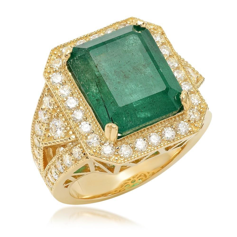 14K Yellow Gold, 8.00cts Emerald, 1.60cts Diamond Ring