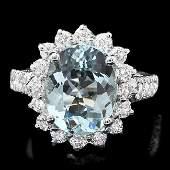 14k Gold 35ct Aquamarine 125ct Diamond Ring