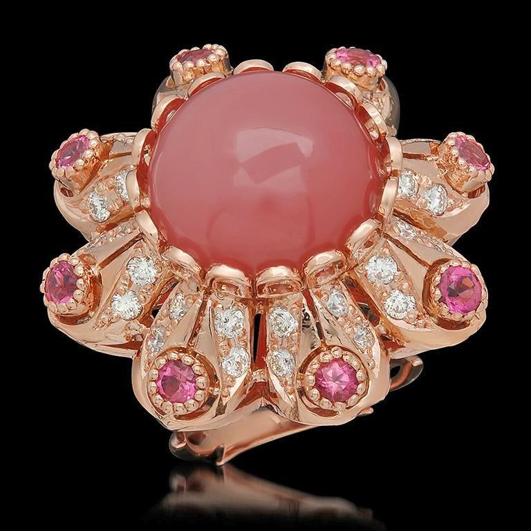 14K Gold 15.51ct Rose Quartz, 1.25ct Pink Sapphire