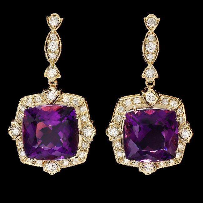 14k Gold 23ct Amethyst 1.6ct Diamond Earrings
