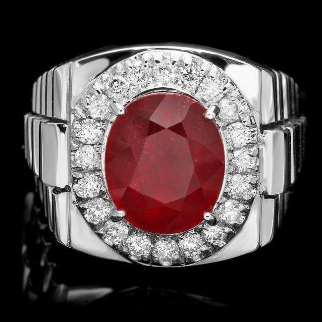 14k Gold 7.00ct Ruby 0.90ct Diamond Mens Ring