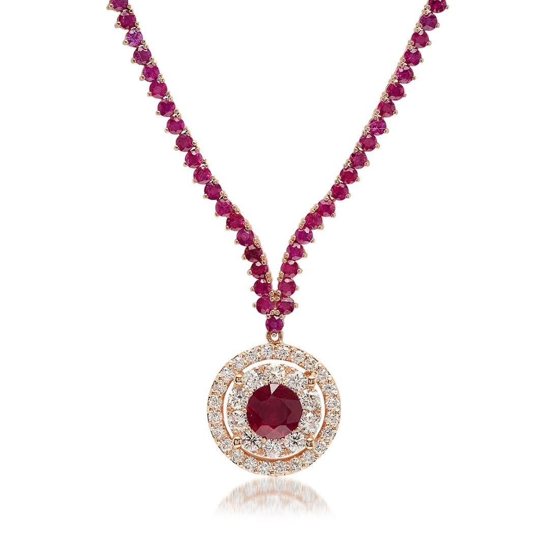 14K Rose Gold, 10.95cts Ruby & 1.27cts Diamond Necklace