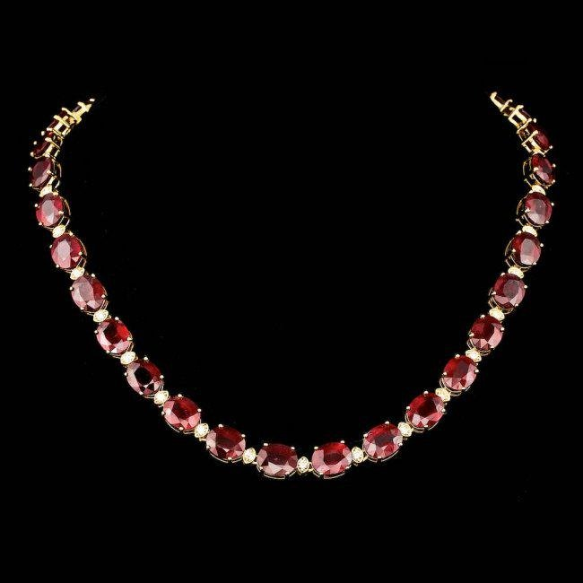 18k Gold 115.00ct Ruby 1.85ct Diamond Necklace