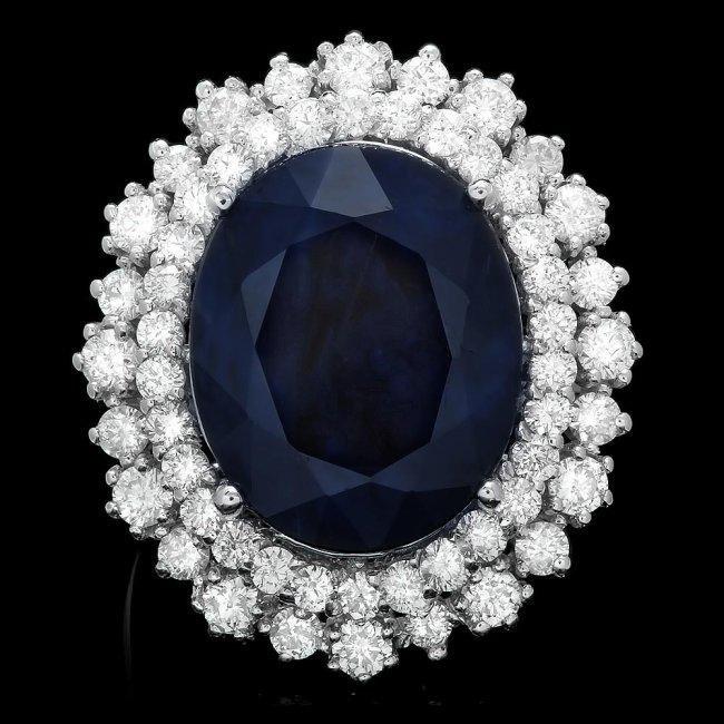 14k Gold 13.00ct Sapphire 1.85ct Diamond Ring