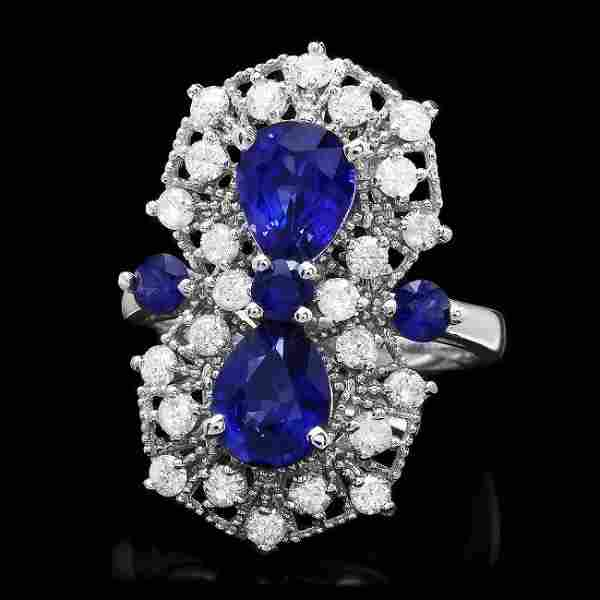 14k White Gold 3.5ct Sapphire 1.00ct Diamond Ring