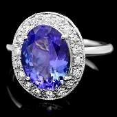 14k Gold 4.00ct Tanzanite 0.35ct Diamond Ring