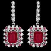 14k Gold 114ct Ruby 150ct Diamond Earrings