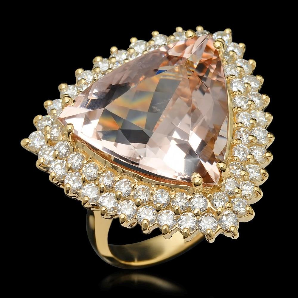 14K Gold 13.58ct Morganite 2.21ct Diamond Ring