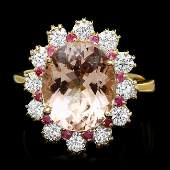 14k Gold 470ct Morganite 100ct Diamond Ring