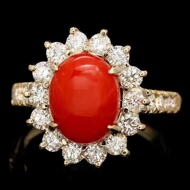 14k Yellow Gold 2.50ct Coral 1.20ct Diamond Ring