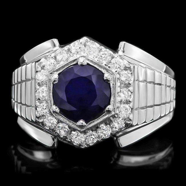 14k Gold 2.00ct Sapphire 0.60ct Diamond Mens Ring