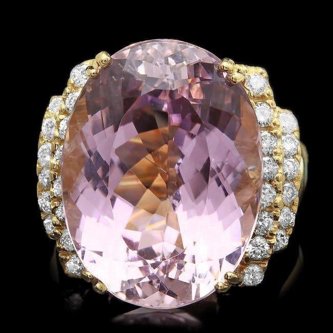 14k Gold 20.40ct Kunzite 0.70ct Diamond Ring