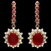 14k Gold 75ct Ruby 130ct Diamond Earrings