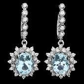 14k 5.50ct Aquamarine 1.70ct Diamond Earrings
