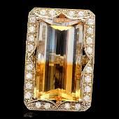 14k Gold 2800ct Citrine 135ct Diamond Ring