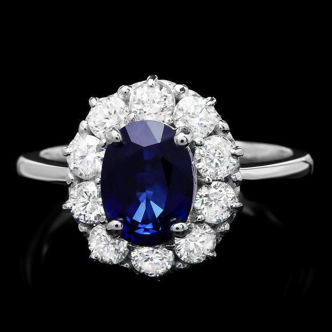 14k Gold 1.50ct Sapphire 1.00ct Diamond Ring