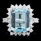 14k Gold 600ct Aquamarine 100ct Diamond Ring