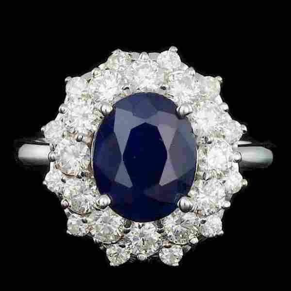 14k Gold 3.00ct Sapphire 1.40ct Diamond Ring