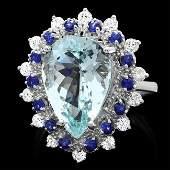 14k Gold 550ct Aquamarine 055ct Diamond Ring
