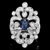 14k Gold 170ct Sapphire 130ct Diamond Ring