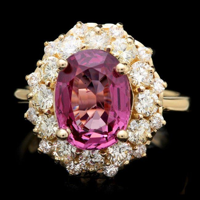 14k Yellow Gold 4.00ct Spinel 1.60ct Diamond Ring