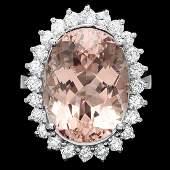 14k Gold 1200ct Morganite 100ct Diamond Ring