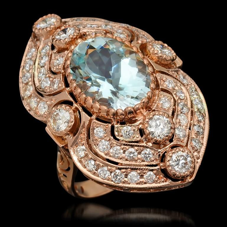 14K Gold 6.27ct Aquamarine & 2.75ct Diamond Ring
