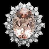 14k Gold 600ct Morganite 075ct Diamond Ring