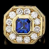 18k Gold 75ct Sapphire 320ct Diamond Mens Ring