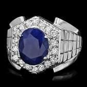 14k Gold 4ct Sapphire 070ct Diamond Mens Ring