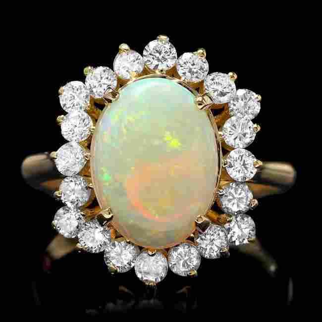 14k Yellow Gold 2.00ct Opal 1.00ct Diamond Ring