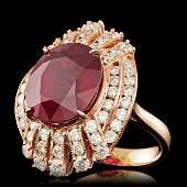 14k Rose Gold 1100ct Ruby 210ct Diamond Ring