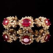 14K Gold 2624ct Ruby 681ct Diamond Bracelet