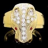18k Gold 100ct Diamond 005ct Ruby Mens Ring