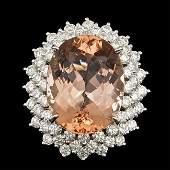 14k Gold 2100ct Morganite 400ct Diamond Ring