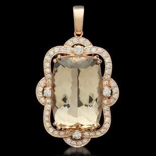 14K Gold 33.52ct Morganite 1.95ct Diamond Pendant