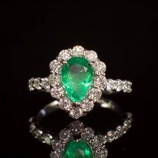 14K Gold 1.67ct Emerald 1.50ct Diamond Ring