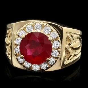 14k Gold 3.00ct Ruby 0.50ct Diamond Mens Ring