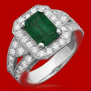 14k Gold 2.02ct Emerald 1.21ct Diamond Ring